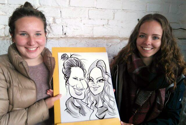 Martinus van Tee birthday party caricature sketches Cape Town