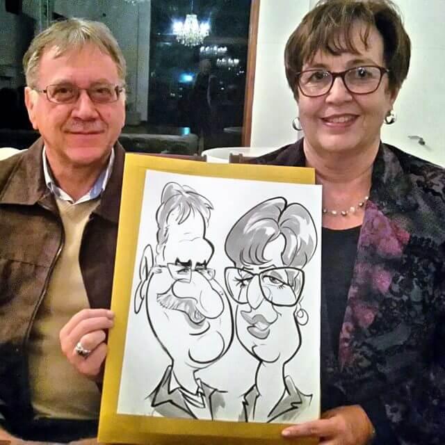 Martinus van Tee weddin caricatures Stellenbosch