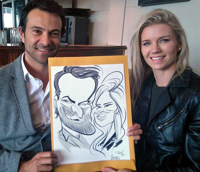 Martinus van Tee wedding caricatures at Zorgvliet Stellenbosch