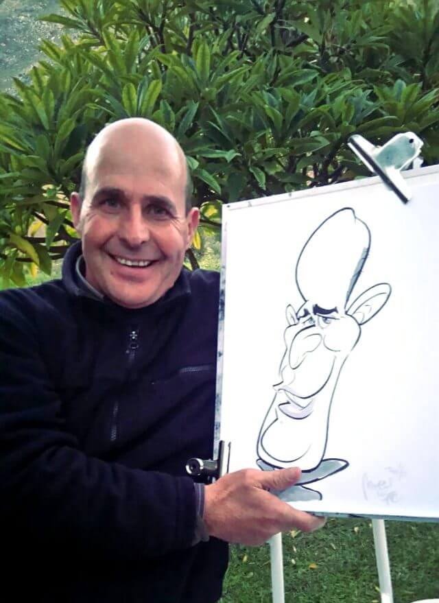 Martinus Illustration caricatures at Olive Rock wedding and function venue Ceres Wolseley