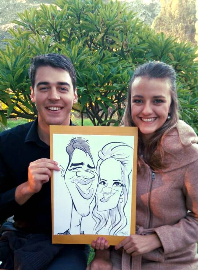 Martinus van Tee illustration caricature couple portrait Cape Town