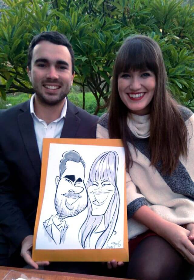 Martinus van Tee wedding caricatures at Olive Rock Wolseley Ceres