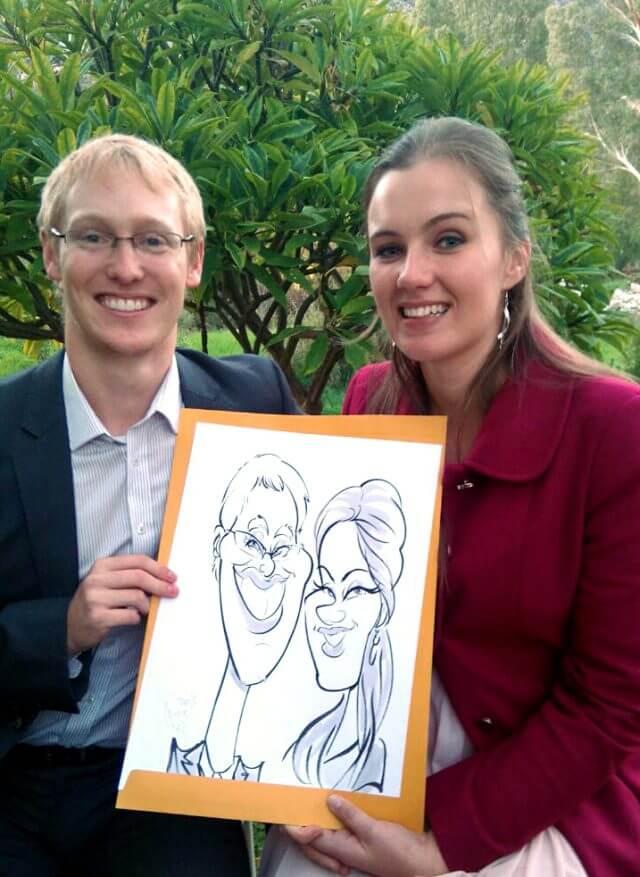Martinus van Tee wedding favour caricature entertainment South Africa Stellenbosch