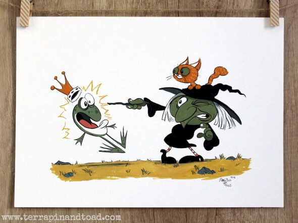 Witch and frog gouache painting by Martinus van Tee for Terrapin and Toad blog