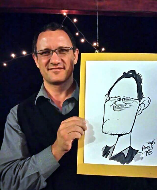 Caricature portrait at event by Martinus van Tee Cape Town