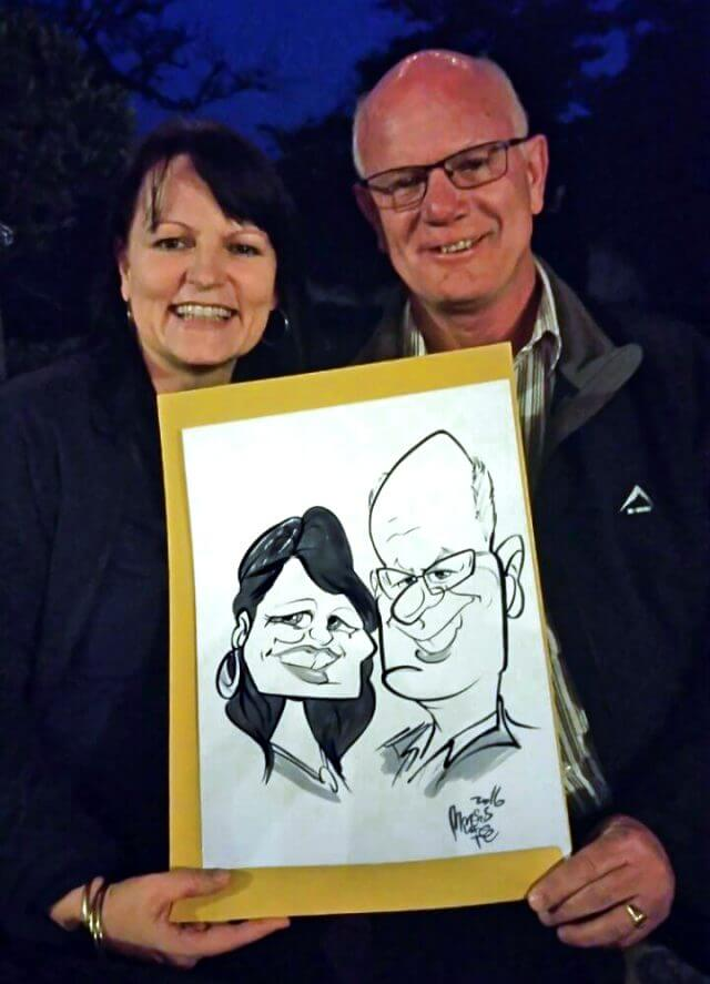Couples portrait live caricature at event by Martinus van Tee Western Cape