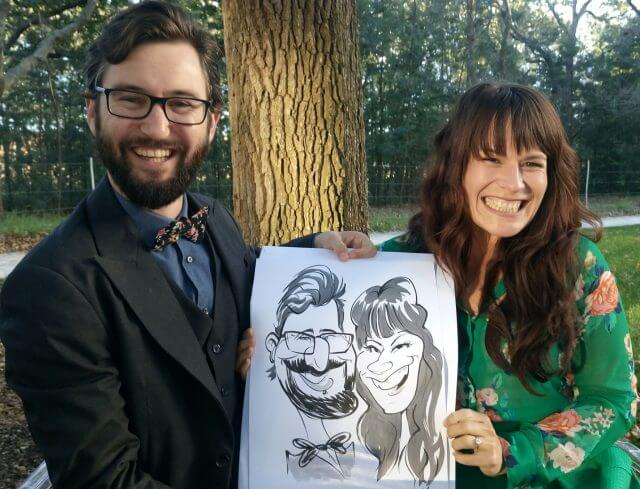 Wedding caricatures at Die Woud, Caledon