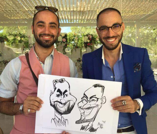 Live wedding caricatures by Martinus van Tee, Western Cape