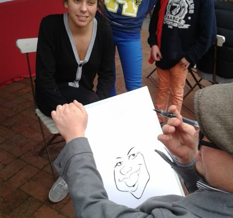 Live caricatures at Reuben's in Franschhoek on Bastille day.