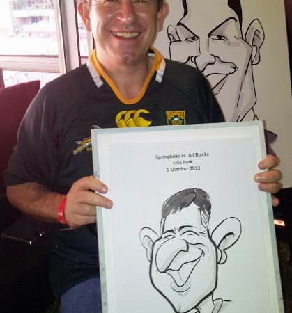 Live caricatures at the Springbok vs All Black game at Ellis Park.