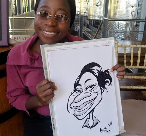 Live wedding caricatures at Hidden Valley in Stellenbosch