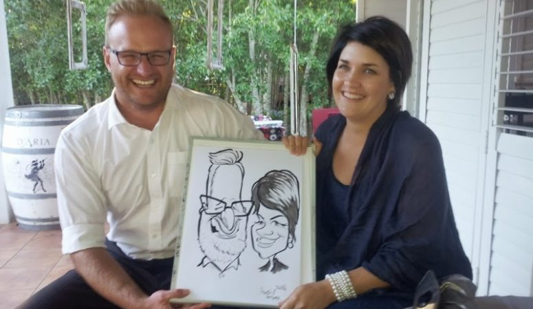 Caricatures at the wedding of GJ and Ivone at D'aria, Durbanville
