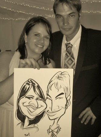 Caricatures at Kelly and Cameron's wedding at Lourensford
