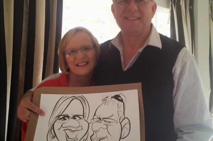 Caricature sketches at Mariska and Fanie's wedding