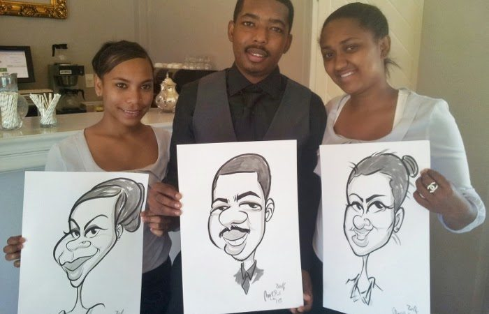 Staff caricatures at Ashanti Estate Paarl