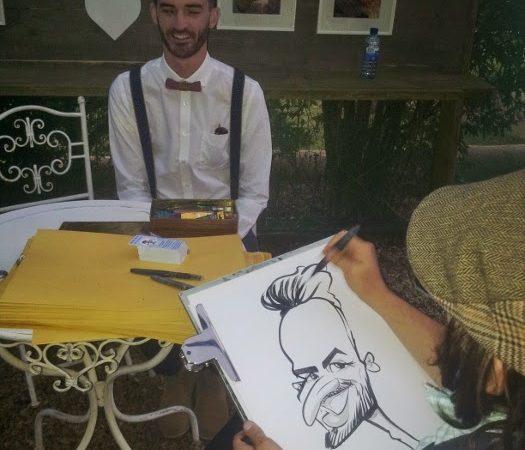 Caricatures at Aimee and David's wedding at Moya's Vineyard