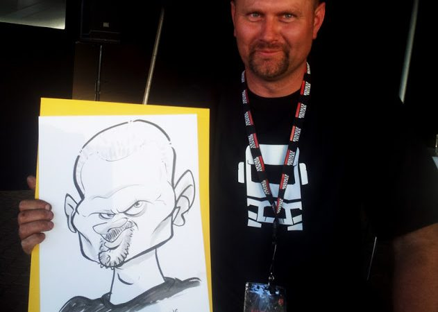 Caricature sketches at a Renault event