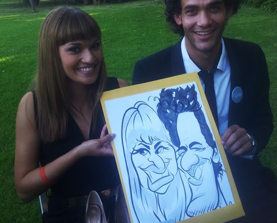 Wedding caricatures at Nooitgedacht