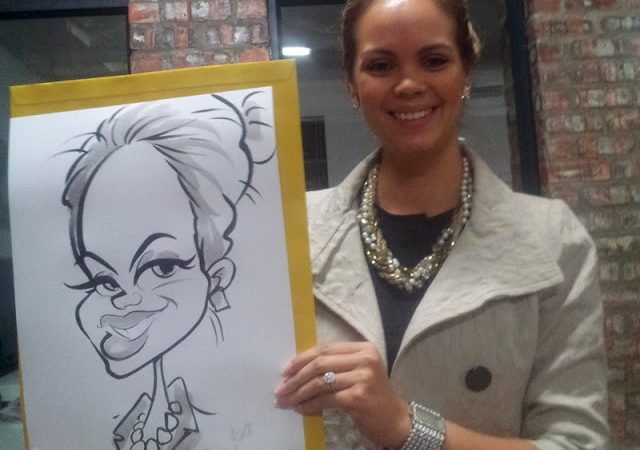 Caricatures at the Little Pink Book industry party-Lourensford Estate