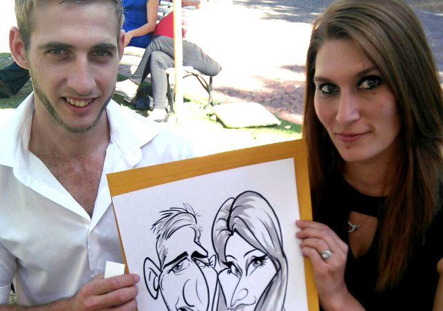 Wedding caricatures at Nooitgedacht Estate