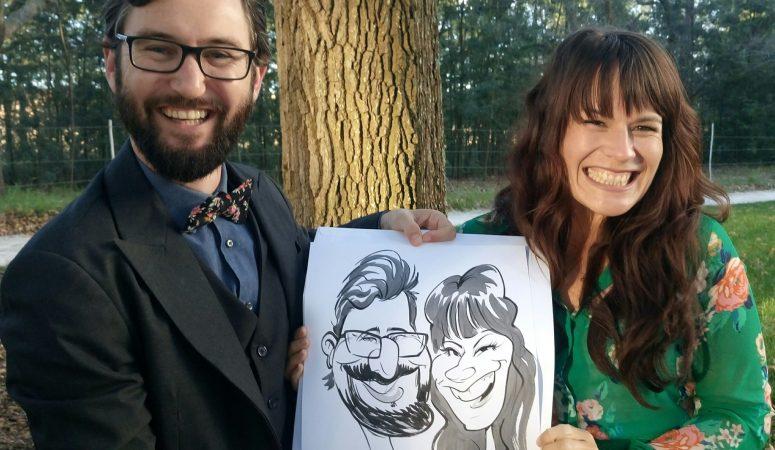 Wedding caricatures at Die Woud