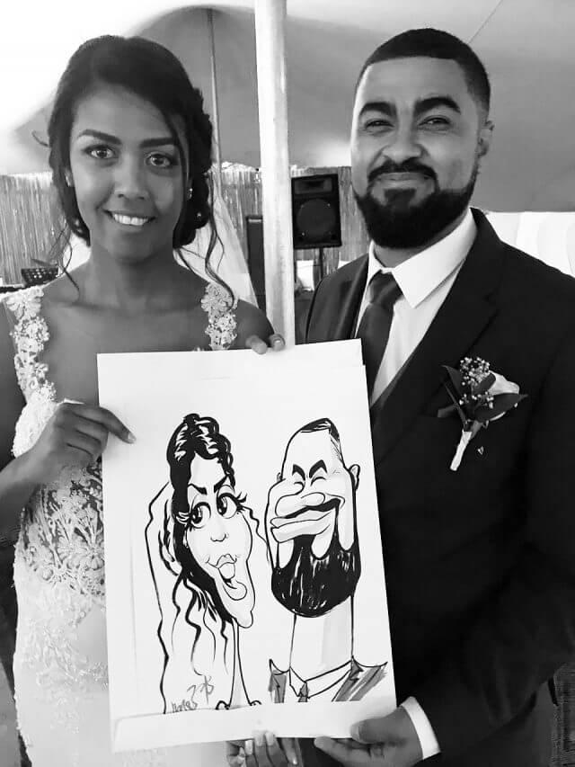 Stellenbsoch wedding entertainment caricatures by Martinus van Tee