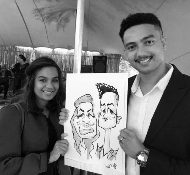 Stellenbosch wedding caricatures by Martinus van Tee