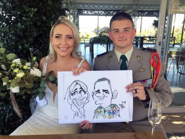 Paarl live wedding caricatures by Martinus van Tee