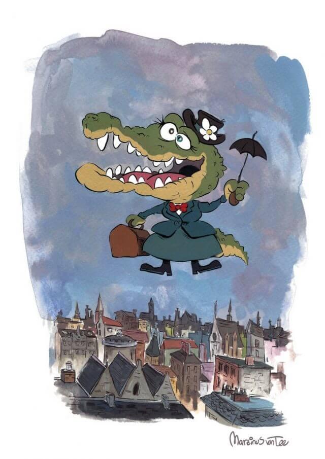 Crocodile in London illustration