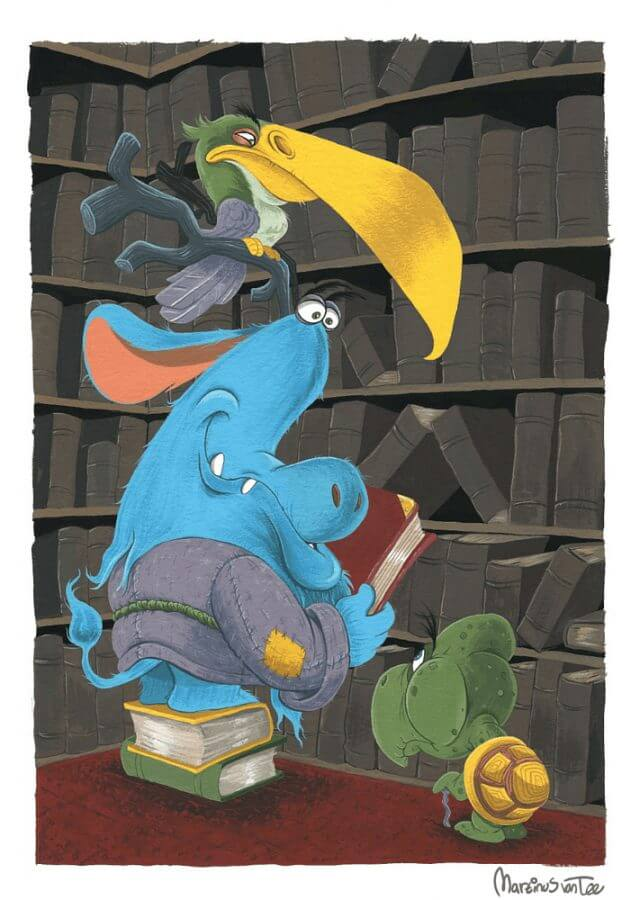 Librarian, turtle and bird illustration