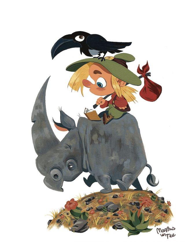 Rhino,, crow and boy illustration