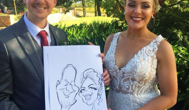 Elgin Vintners wedding caricatures