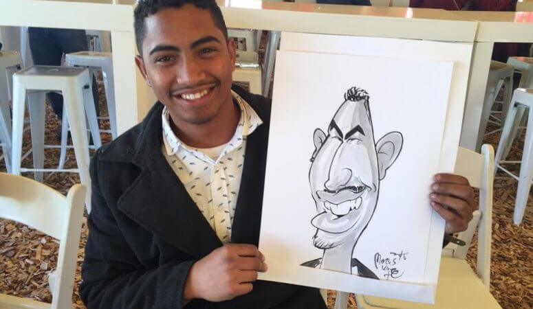 Live caricature sketching in Franschhoek