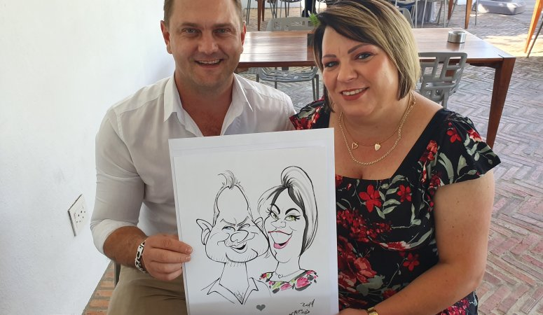 Wedding Caricatures sketched in the Cape Town Winelands