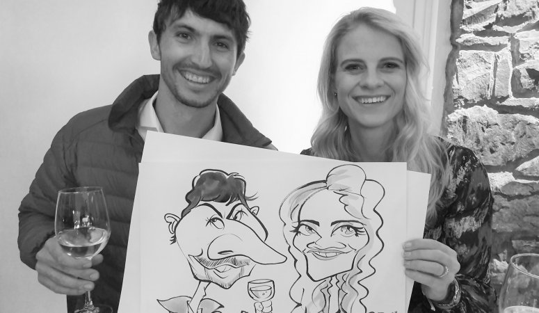 Caricatures at Jannicke and Tiaan's wedding at La Parada Cape Town