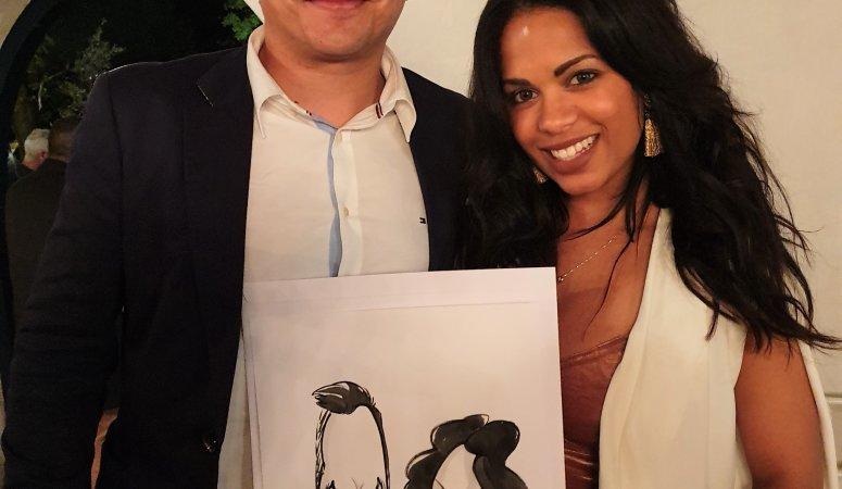 Caricatures at Naquita and Lyle's wedding at Natte Valleij Stellenbosch