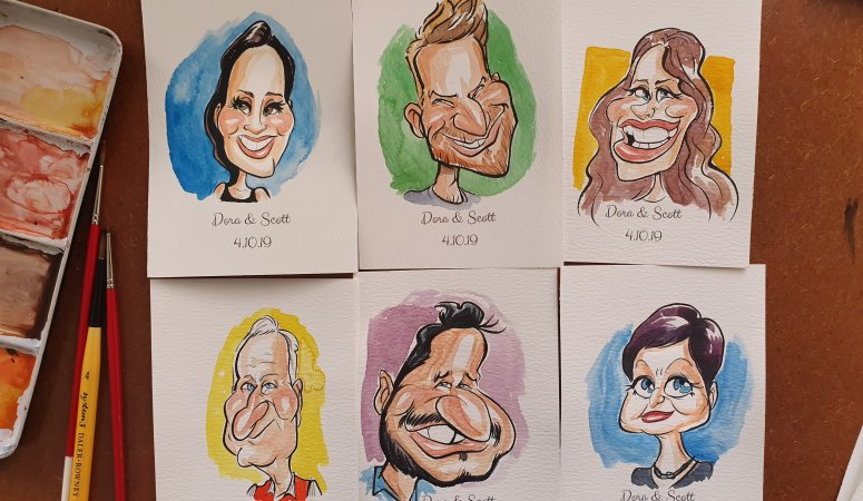 Watercolour Caricatures for Wedding Place Cards