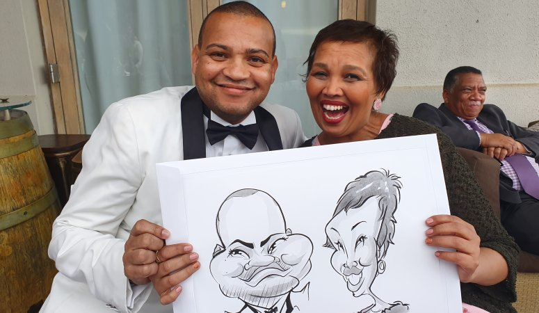 Caricatures drawn at Lorinda and Nezaam's wedding at Nitida Wine Farm