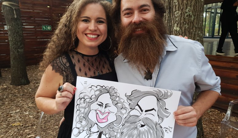 Caricatures at Jay-Allen and Wesley's wedding Die Woud Caledon