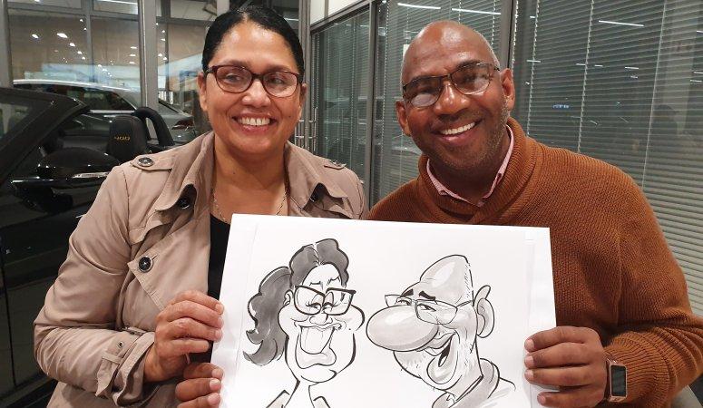 Caricaturist at Jaguar Constantiaberg CapeTown