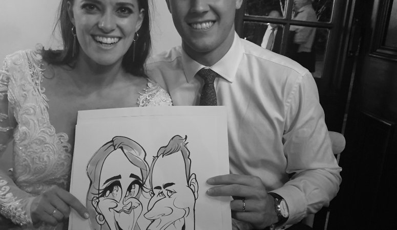 Caricatures sketched at Adriaan and Nina's wedding at Nooitgedacht Estate