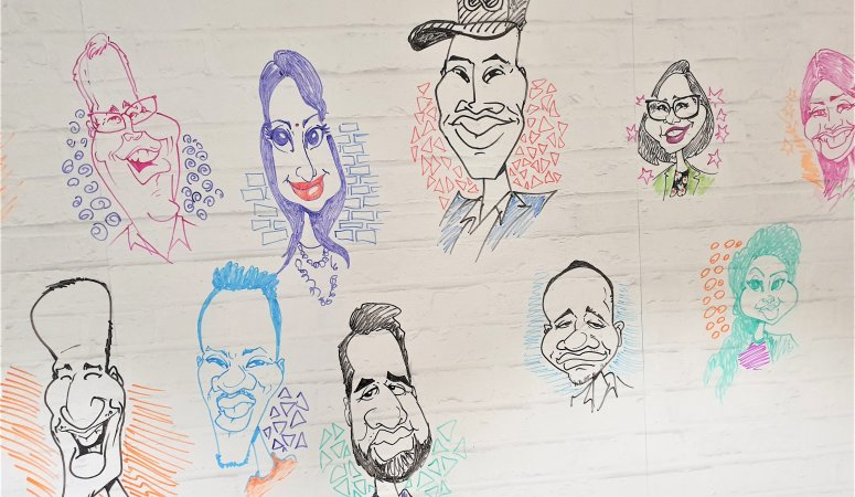 Caricature sketches drawn at EOH Conference