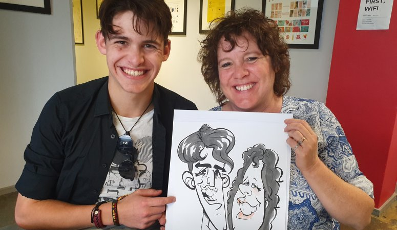 Caricaturist sketches at Vega Open Day