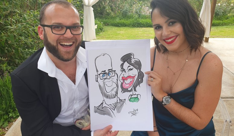 Wedding Caricatures drawn at Langkloof Roses