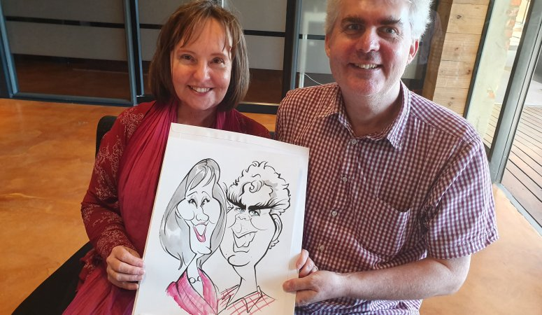 Birthday Caricature sketches at Die Bron Teater
