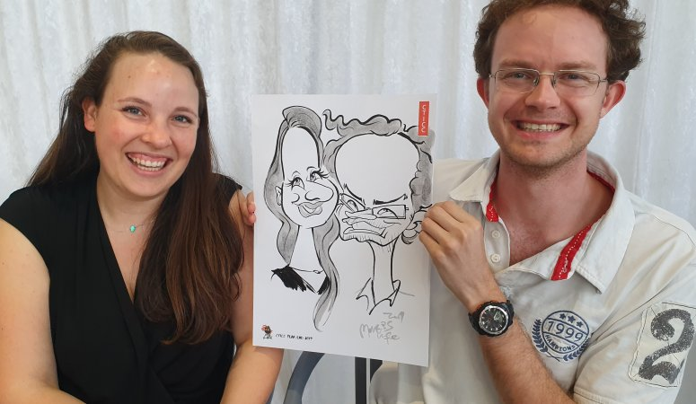 Caricatures at the CTICC Year End Function in Cape Town